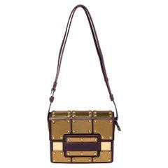 Delvaux Gold/Purple Leather Iron Shield Mini Madame Crossbody Bag