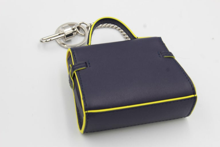 Black Delvaux Mini Tempete Leather Charm / Keyring For Sale