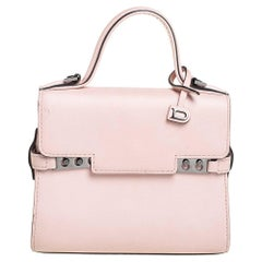 Delvaux Pink Leather Mini Tempete Top Handle Bag