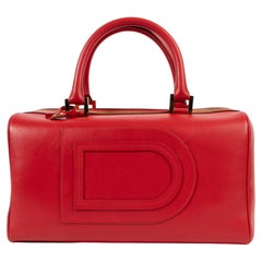 Delvaux Red Louise Boston Top Handle Bag