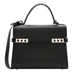 Delvaux Tempete MM Bag in Black Souple Box Calf Leather