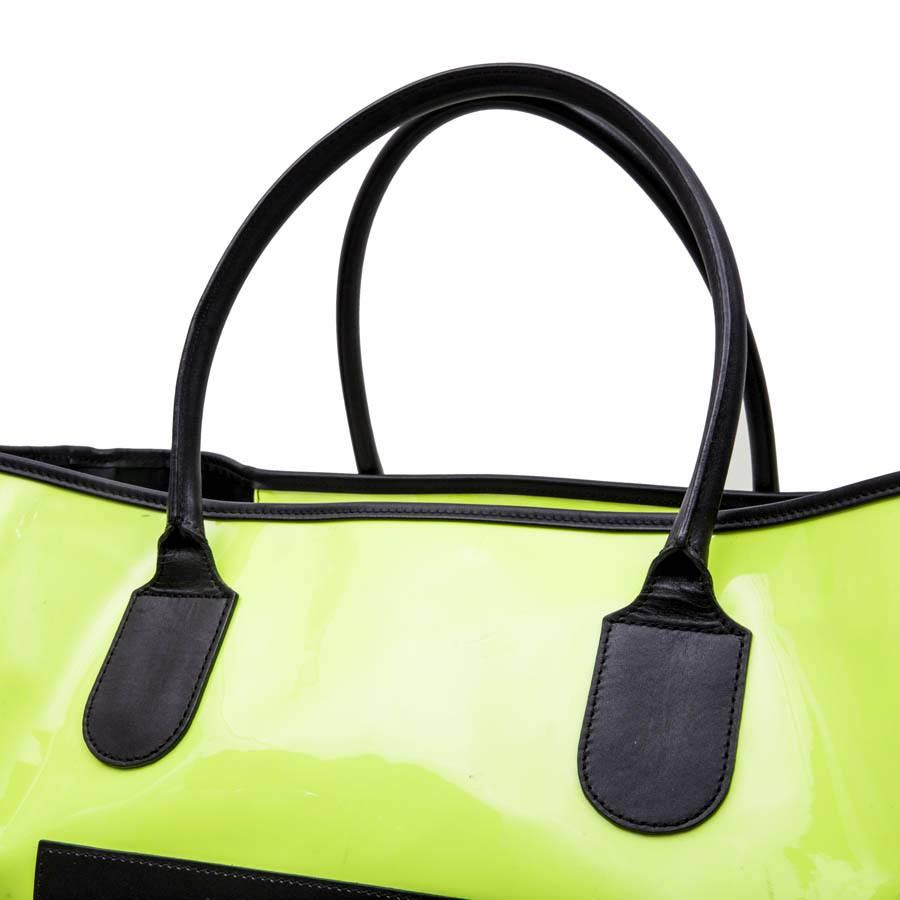 Delvaux Tote Bag In Yellow Fluorescent Patent Canvas 4gD1G