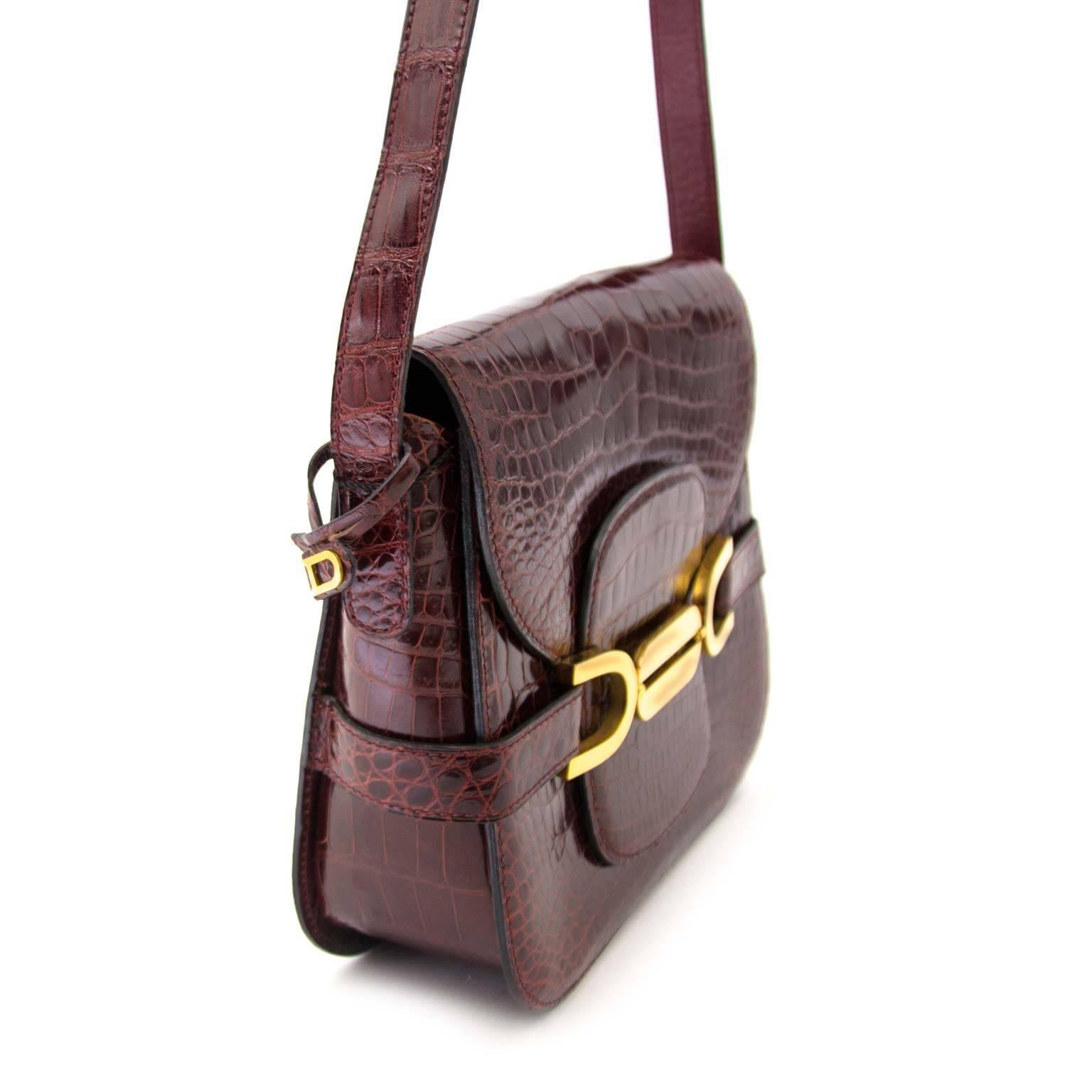 Delvaux Vintage Bordeaux Croco Leather Bag ZAoTew