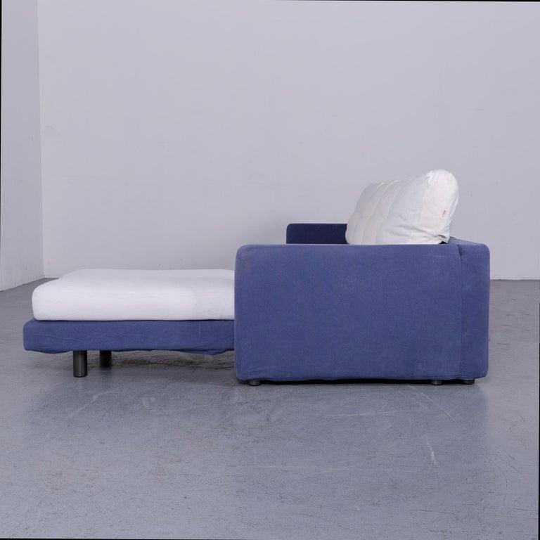 Dema Designer Fabric Sofa White Blue Corner Sofa Couch