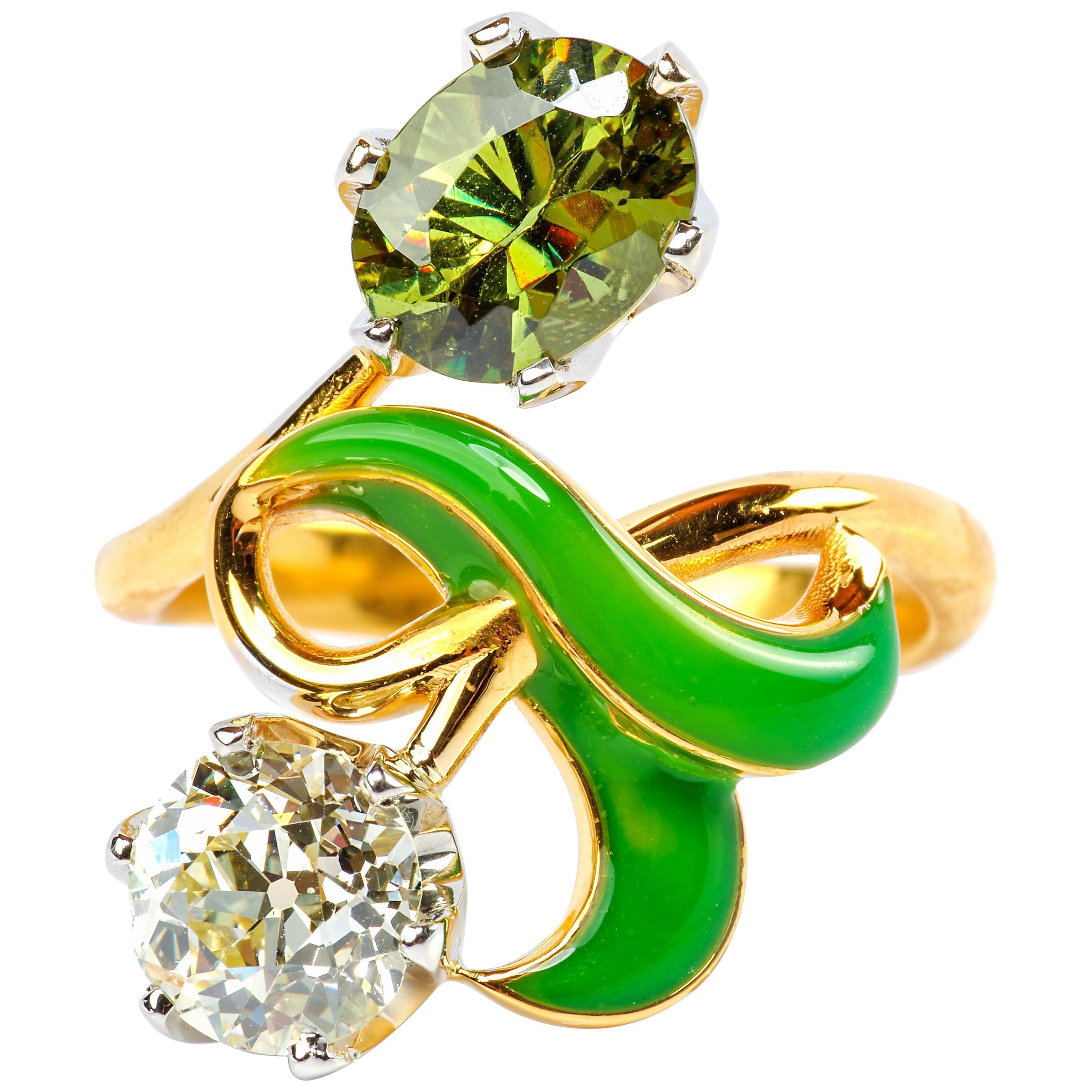 Demantoid Garnet and Diamond Ring Art Nouveau Style