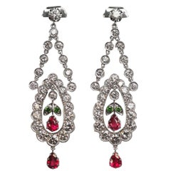 Demantoid Garnet, Burma Ruby and Diamond Eighteen Karat White Gold Drop Earrings
