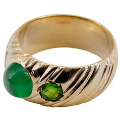 Demantoid Garnet Ring with Chrysoprase from, Russia, circa 1890