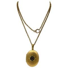 Demantoid Green and Red Garnet Locket Necklace Antique Victorian Gold Filled