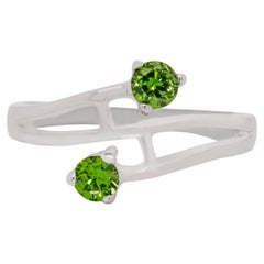 Demantoid Green Garnet 14 Karat Gold Engagement Ring