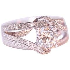 Demarco Engagement Right Hand Diamond Ring 18 Karat White Gold CZ Center