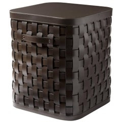 Demetra Brown Square Tall Basket with Lid