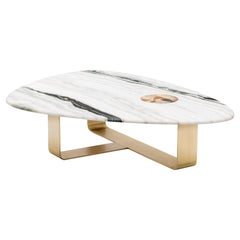 Demetra Coffee Table in Satin Dalmata Marble with Horn Inlay, Mod. 7007BRSV