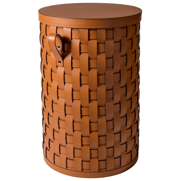 Demetra Tall Round Laundry Basket For Sale at 1stdibs