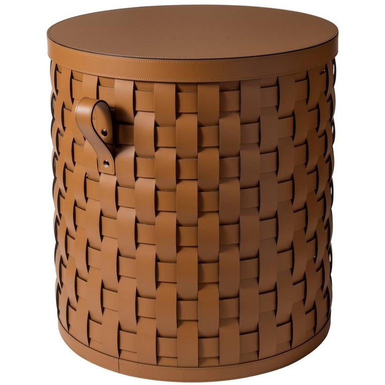 Demetra Tan Round Small Basket With Lid
