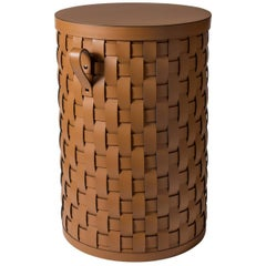 Demetra Tan Round Tall Basket with Lid