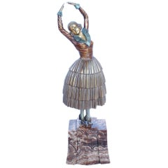 "Demétre Chiparus ""Cleo"" Cold Painted Bronze Sculpture Signed Chiparus to Bronze"