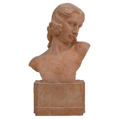 Demetre Chiparus French Art Deco Terracotta Lady Bust Sculpture, 1920s