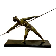 Demétre Chiparus Sculpture 'Athlete with Javelin' Tall Athletic Statue