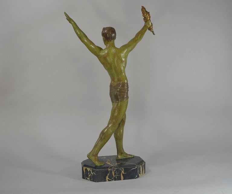 Art Deco Demétre Chiparus Sculpture 'Victory' Tall Athletic Statue For Sale