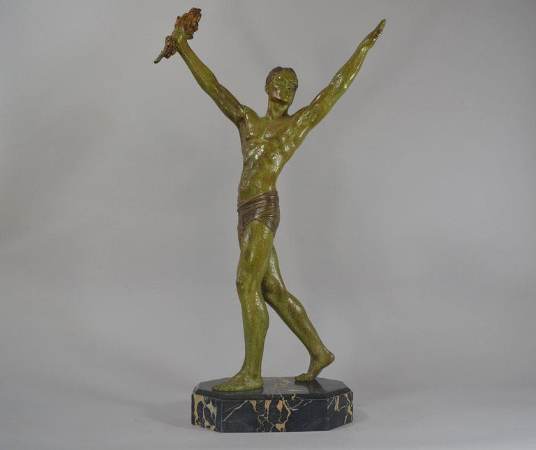 French Demétre Chiparus Sculpture 'Victory' Tall Athletic Statue For Sale