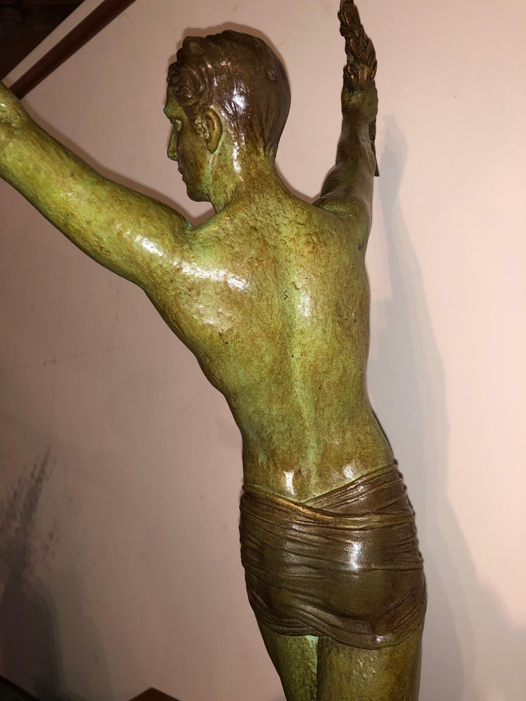 Demétre Chiparus Sculpture 'Victory' Tall Athletic Statue In Good Condition For Sale In Oakland, CA