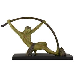"Demetre H. Chiparus Art Deco Sculpture Bending Bar Man ""L'age Du Bronze"", 1930"