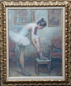 Potrait of a Ballerina in an Interior - Spanish 1930's art portrait oil painting