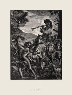 Allegorical Music - Original Etching by Demetrios Galanis - mid-20th Century