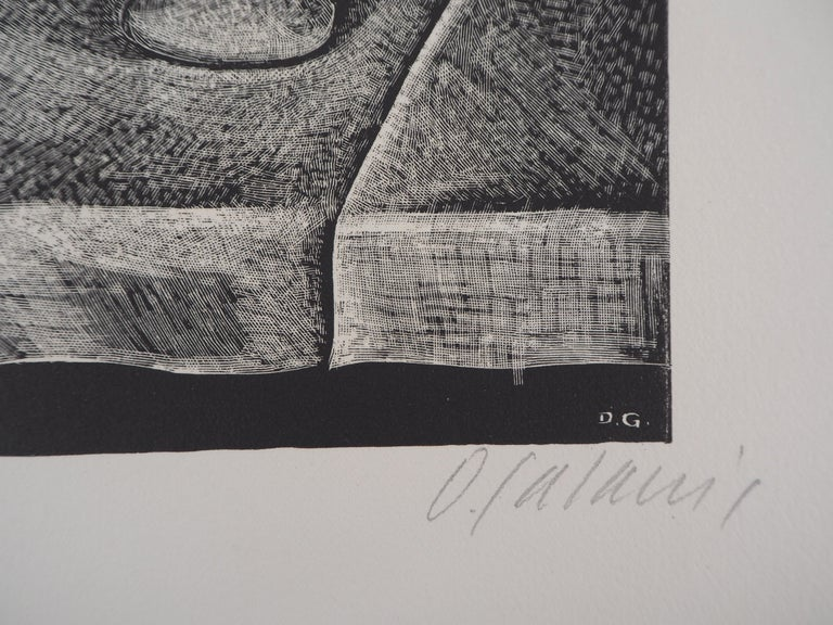 Still Life with a Pipe and a Pichet - Original wooodcut, Handsigned - Print by Demetrios Galanis