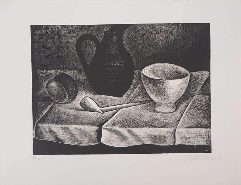 Still Life with a Pipe and a Pichet - Original wooodcut, Handsigned - Modern Print by Demetrios Galanis