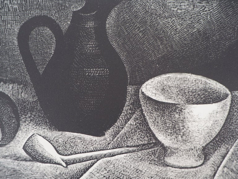 Still Life with a Pipe and a Pichet - Original wooodcut, Handsigned - Gray Landscape Print by Demetrios Galanis