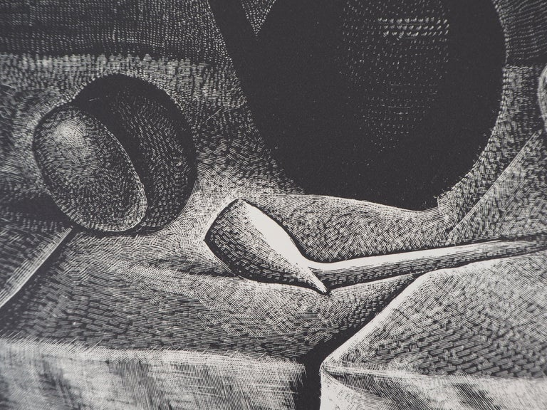 Demetrios Galanis Still Life with a Pipe and a Pichet, 1926  Original woodcut Handsigned in pencil Numbered /160 On vellum 32.5 x 25.5 cm (c. 13 x 10 in) Bears the blind stamp of the editor 'Imagier de la Gravure sur Bois' (Lugt 1140a)  Excellent