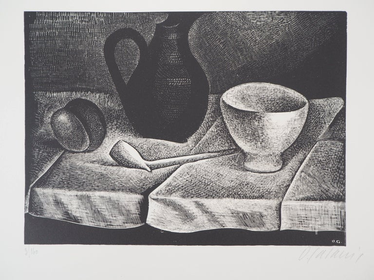 Demetrios Galanis Landscape Print - Still Life with a Pipe and a Pichet - Original wooodcut, Handsigned