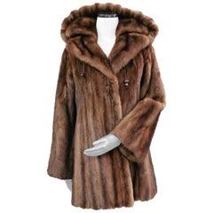Demi buff mink fur coat with detachable hoodie size 4-6
