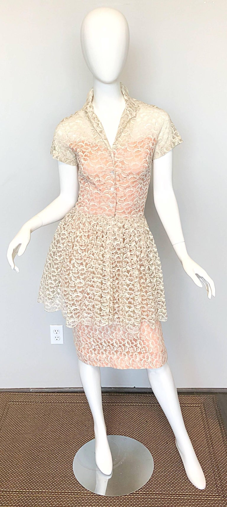 2d5eb1d71b Demi Couture 1950s Neusteters Ivory + Pink Silk French Lace Vintage ...