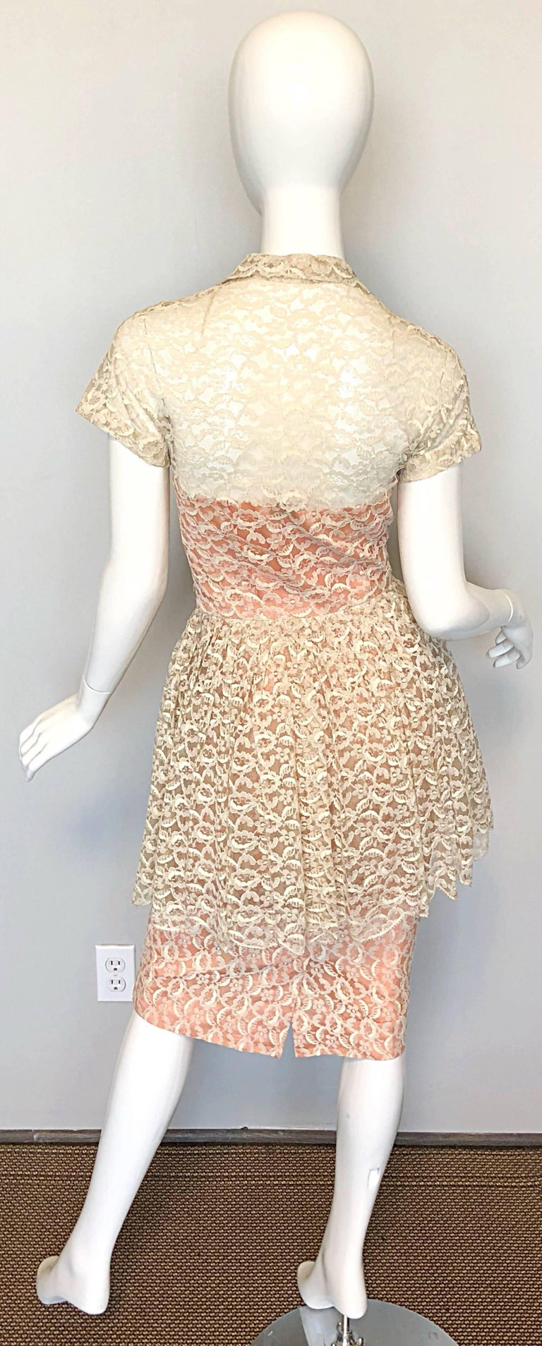 e9e45dbc27 White Demi Couture 1950s Neusteters Ivory + Pink Silk French Lace Vintage  Peplum Dress For Sale