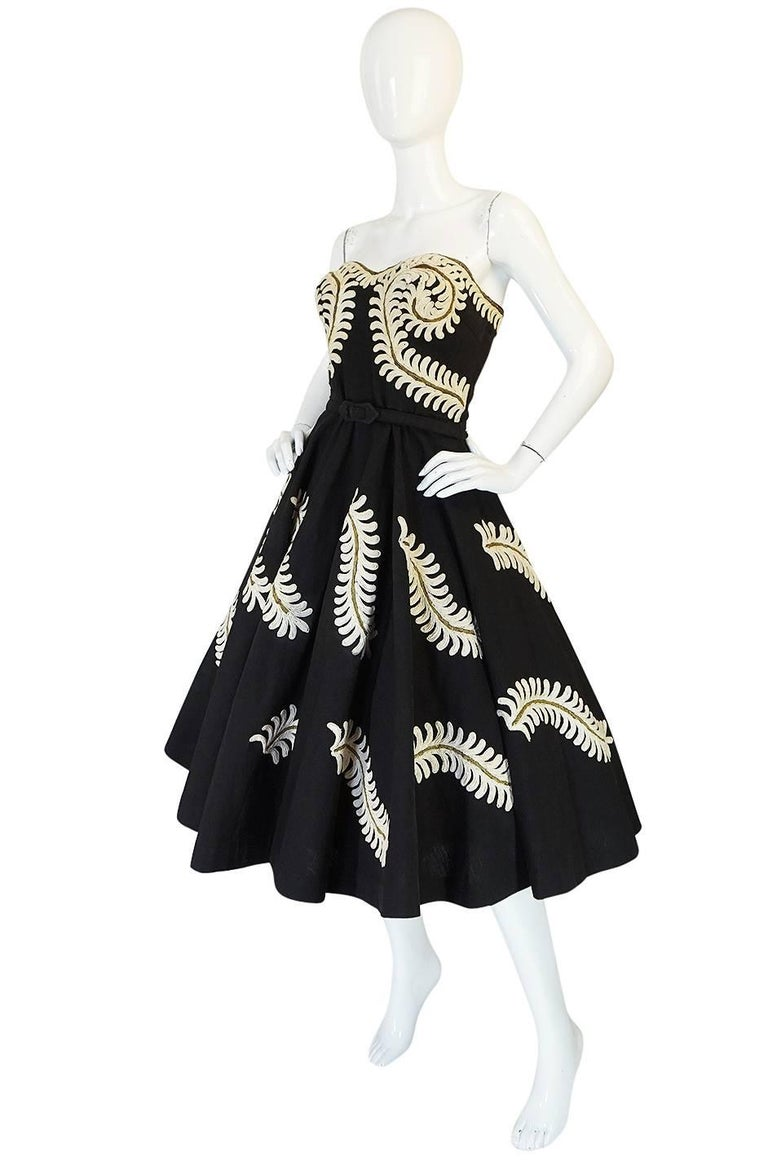 Black Demi-Couture 1950s Unlabeled Hand Applied Cord Applique Strapless Dress For Sale