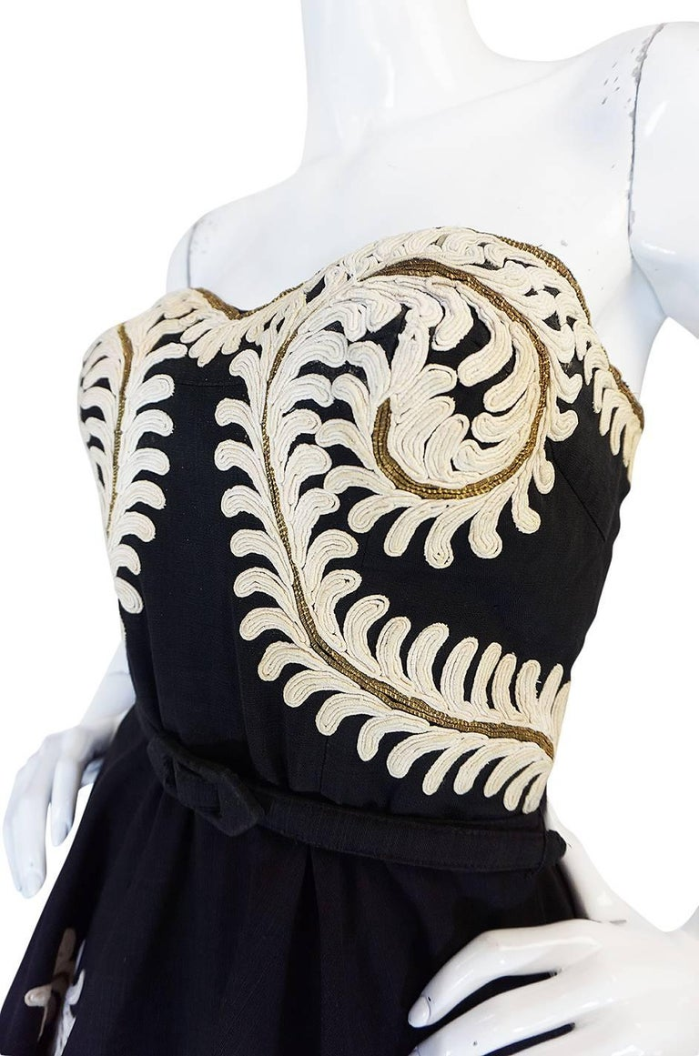 Demi-Couture 1950s Unlabeled Hand Applied Cord Applique Strapless Dress For Sale 4