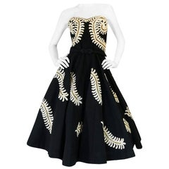Demi-Couture 1950s Unlabeled Hand Applied Cord Applique Strapless Dress
