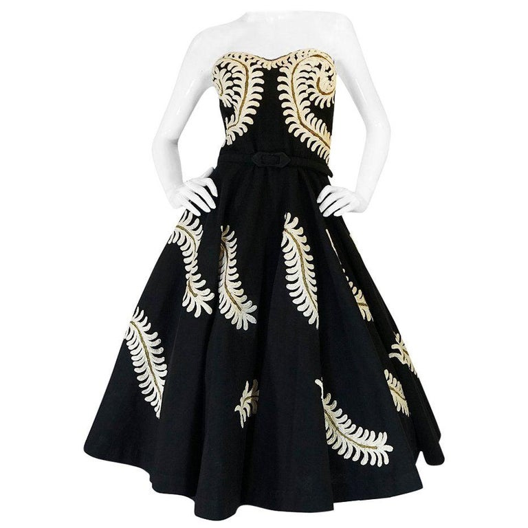 Demi-Couture 1950s Unlabeled Hand Applied Cord Applique Strapless Dress For Sale