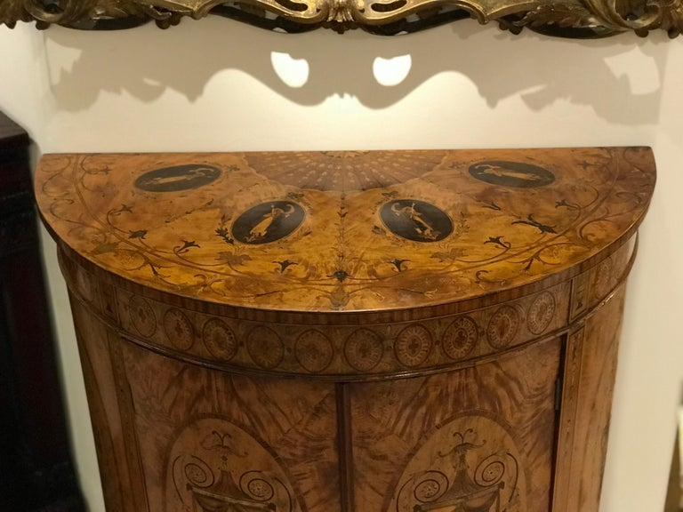English Demilune Double Doored Satinwood Commode, circa 1880