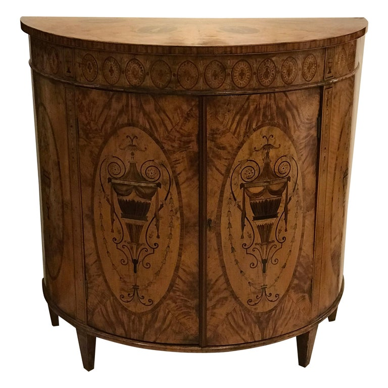 Demilune Double Doored Satinwood Commode, circa 1880