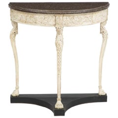 Demi-Lune Gustavian Console Table with a Faux Porphyry Painted Top