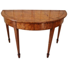 Demilune Figured Ash Hall Table, circa 1840