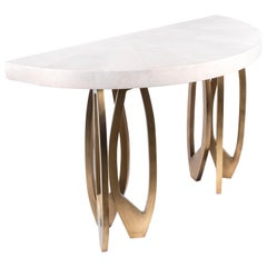 Demi-lune Lily Console in Cream Shagreen & Bronze-Patina Brass by R & Y Augousti