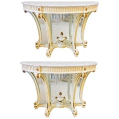 Demilune Marble-Top Console or Serving Tables Hollywood Regency Style a Pair