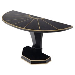 Demi Lune Tessellated Black Onyx or Marble Brass Inlay Console Table