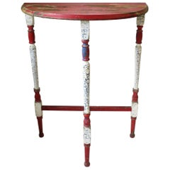 Demilune Wood Console Table in Red White and Blue