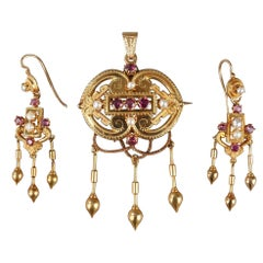 Demi-Parure in Gold, Pearls and Gems Stones, Napoleon III