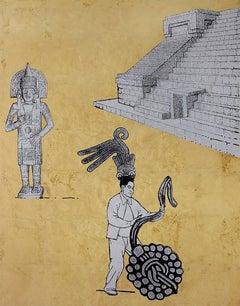 Escenario IV, Contemporary Art, Gold and Silver Leaf, Acrylic on Canvas, México
